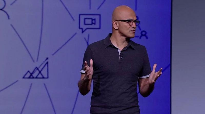 Satya Nadella, CEO de Microsoft, durante su intervención inaugural en Build 2018